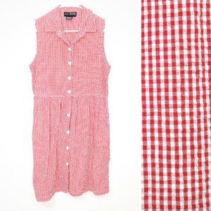 Vintage 90s Gingham Red White Button Front Dress